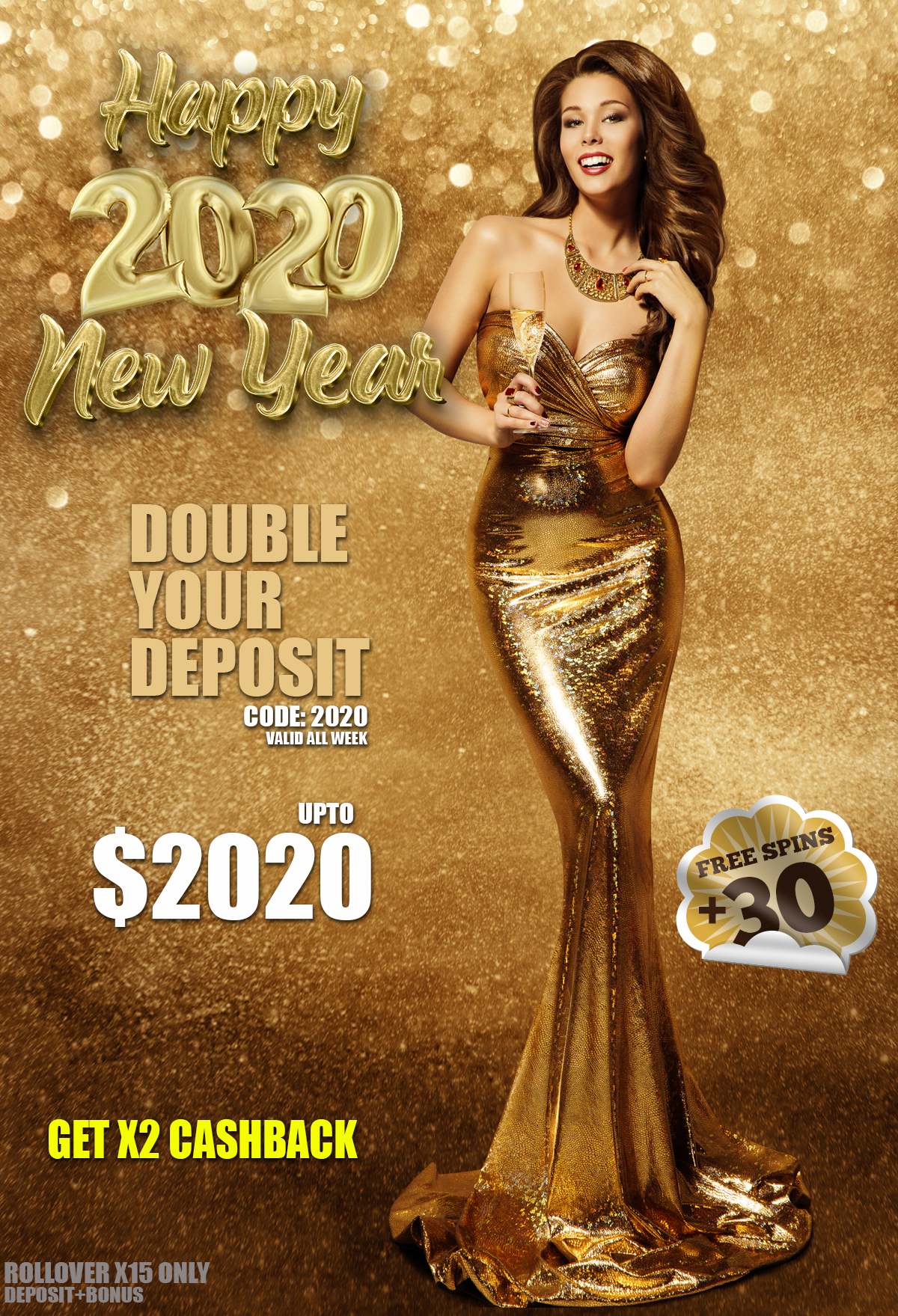 Happy New Year 2020 bonus + 30 Real money free spin